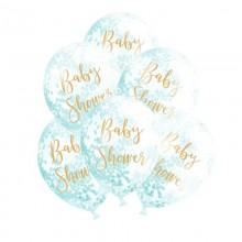 BALONY na Baby Shower + niebieskie konfetti Transparentne ZŁOTY NAPIS 6szt