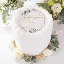 OPŁATEK na tort Botaniczne Baby Shower Z IMIENIEM Ø20cm