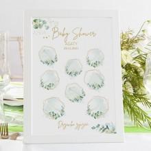 DRZEWKO Życzeń księga gości na Baby Shower Botaniczne W RAMIE Z Imieniem