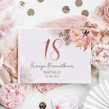KSIĘGA PAMIĄTKOWA na 18 urodziny Z IMIENIEM Glittery Flowers