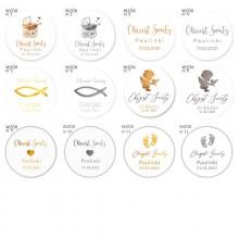 NAKLEJKI etykiety Z IMIENIEM dziecka na Chrzest 10szt BŁYSK METALICZNE