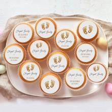 OPŁATKI na muffinki na Chrzest Z IMIENIEM Złote Stópki 12szt