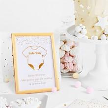 DEKORACJA stołu na Baby Shower Tabliczka Hello Baby (+złota ramka)
