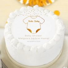 OPŁATEK na tort Baby Shower Hello Baby Z IMIENIEM Ø20cm