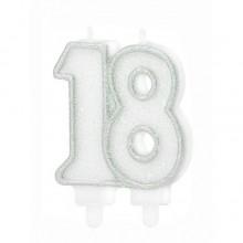 ŚWIECZKA na 18 urodziny brokatowa SREBRNA