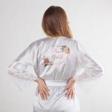 SZLAFROK dla Panny Młodej koronka LUX uniwersalny Rosegold Flowers