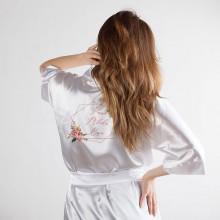 SZLAFROK Panna Młoda gładki Z IMIENIEM Rosegold Flowers
