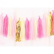 GIRLANDA Frędzelki Różowo-Złote (+sznurek)