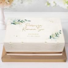 OPŁATEK na tort komunijny Z IMIENIEM Gałązka Eukaliptusa 21x30cm