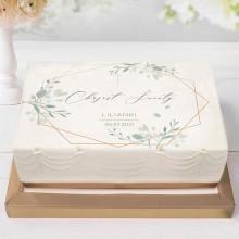 OPŁATEK na tort Z IMIENIEM Srebrno-Złoty Chrzest 21x30cm