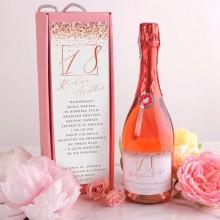 PREZENT na 18 urodziny Wino musujące w pudełku RÓŻ Rosegold +IMIĘ