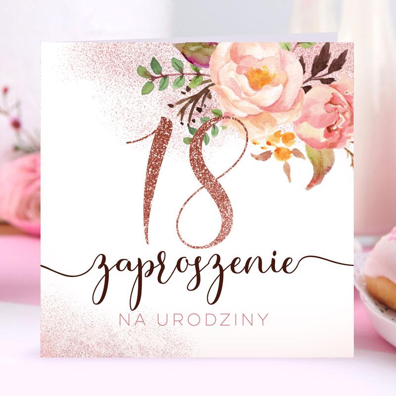 Zaproszenia na 18 glamour glittery