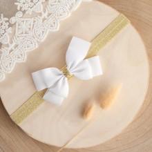 OPASKA na główkę elegancka Biała Kokarda + złoto (P006)