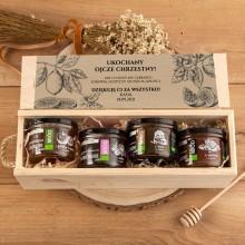 MIODY smakowe dla Chrzestnych/Dziadków w drewnianej skrzyni Z PODPISEM