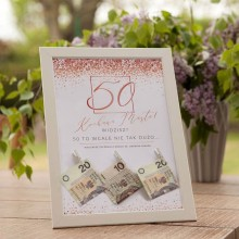 PREZENT na 50 urodziny Rama na Pieniądze Rosegold Confetti