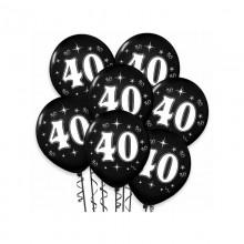BALONY na 40 urodziny z białym napisem 6szt CZARNE