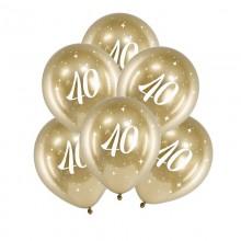 BALONY na 40 urodziny złote 6szt Chromowane Lux