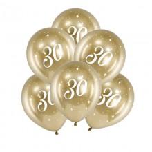 BALONY na 30 urodziny złote 6szt Chromowane Lux
