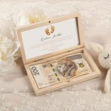 PUDEŁKO na pieniądze na Chrzest drewniane Z IMIENIEM Złote Stópki