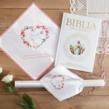 PREZENT na Chrzest świeca+chusteczka+Biblia Różowe Serce UNIWERSALNY -10%
