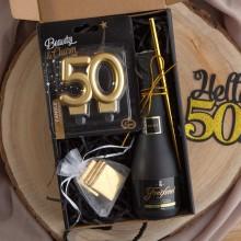 PREZENT na 50 urodziny czarny BOX z IMIENIEM wino+świeczka LUX