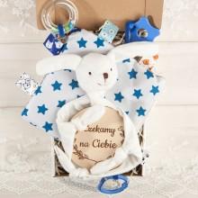 PREZENT na Baby Shower dla dziecka Z IMIENIEM z zabawką sensoryczną BŁĘKIT