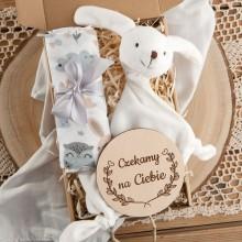 PREZENT na Baby Shower dla dziecka Z IMIENIEM w pudełku Przytulanka Miś