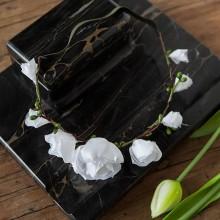 OPASKA na panieński na gumce Białe Kwiaty (094)