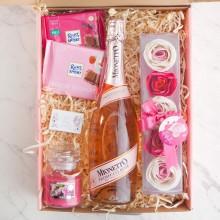 PREZENT na 18,30,40 urodziny Z IMIENIEM różowe Prosecco i mydlane konfetti