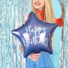 BALON foliowy urodzinowy gwiazda 40cm Happy Birthday GRANATOWY