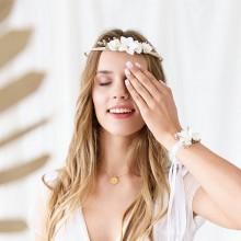WIANEK na panieński Białe Kwiaty regulowany