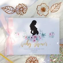 KSIĘGA Porady i Życzenia dla Przyszłej Mamy Piwonie Baby Shower Z IMIENIEM (+jasnoróżowa wstążka)