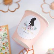 KUBECZKI papierowe z imieniem Piwonie Baby Shower (+etykieta) RÓŻOWE ze złotym 6szt