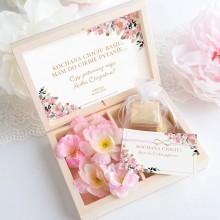 PROŚBA Czy będziesz moją Matką Chrzestną Bransoletka Nieskończoności ZŁOCONA Różowe Kwiaty