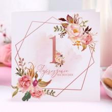 ZAPROSZENIA na Roczek Rosegold Flowers 10szt (+koperty)