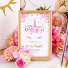 DEKORACJA stołu na urodziny Tabliczka dziecka Unicorn Jednorożec (+złota metalowa ramka)