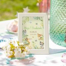 DEKORACJA stołu na Roczek Tabliczka Leśne Zwierzątka (+ramka)