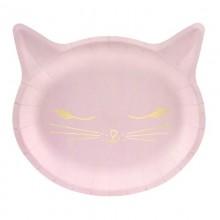 TALERZYKI papierowe jasnoróżowe Kotek 6szt