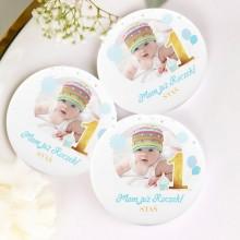 MAGNES na Roczek ZE ZDJĘCIEM dziecka personalizowany Niebiesko-Złota Jedynka